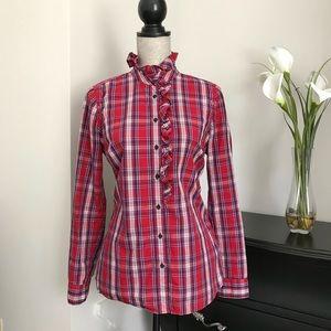 Gap Plaid Fitted Boyfriend Shirt
